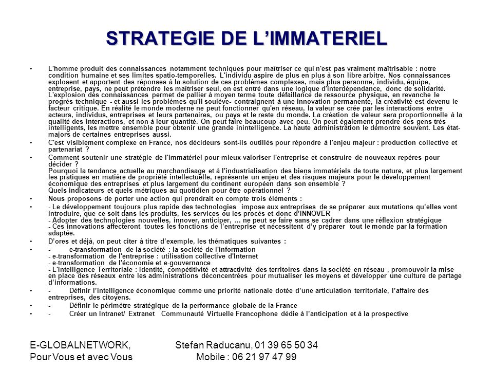 STRATEGIE DE L'IMMATERIEL