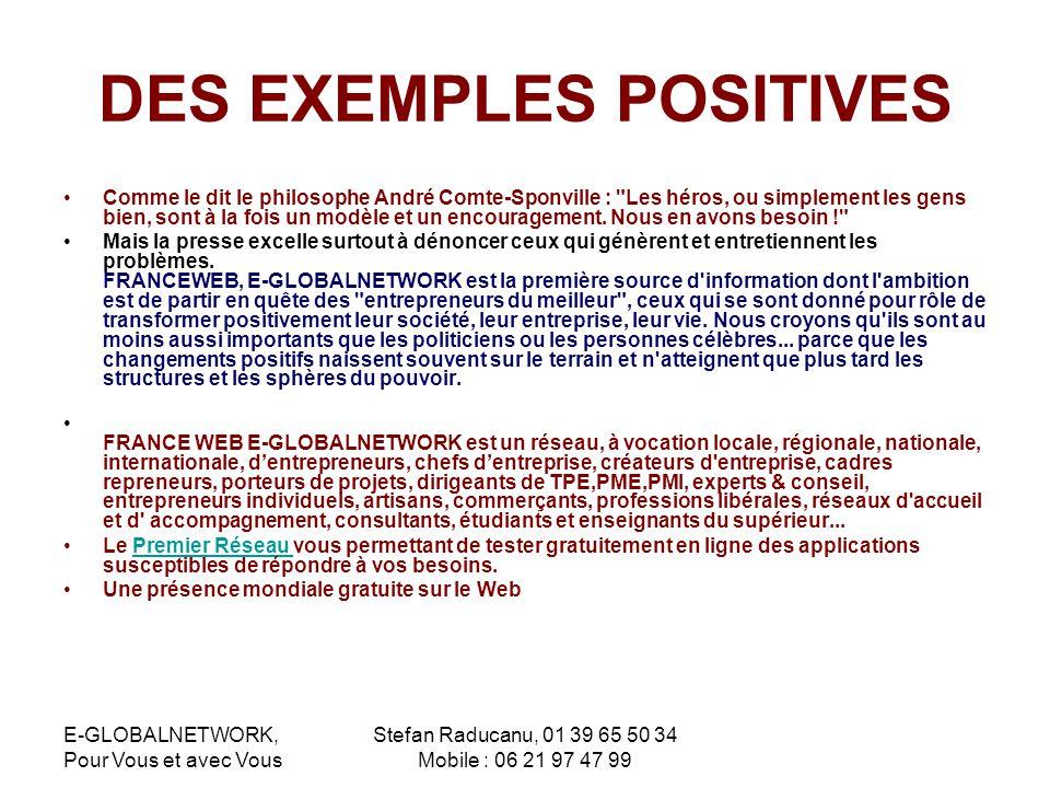 DES EXEMPLES POSITIVES