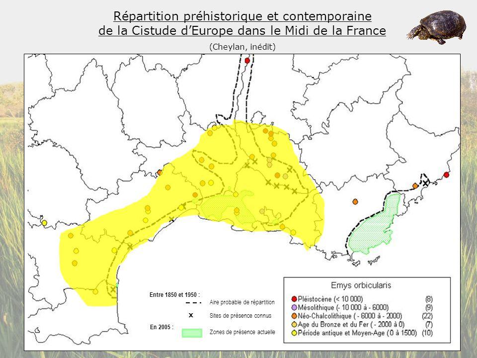Répartition préhistorique et contemporaine de la Cistude d'Europe dans le Midi de la France
