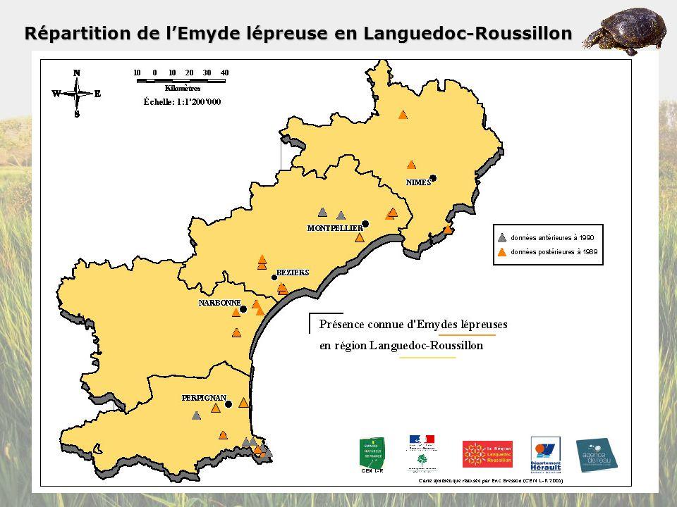 Répartition de l'Emyde lépreuse en Languedoc-Roussillon