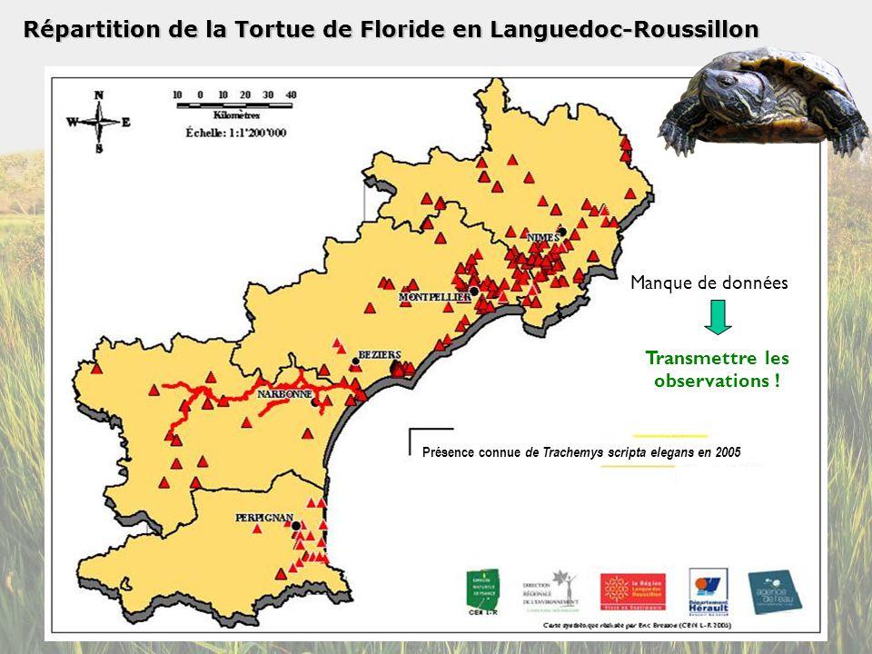 Répartition de la Tortue de Floride en Languedoc-Roussillon