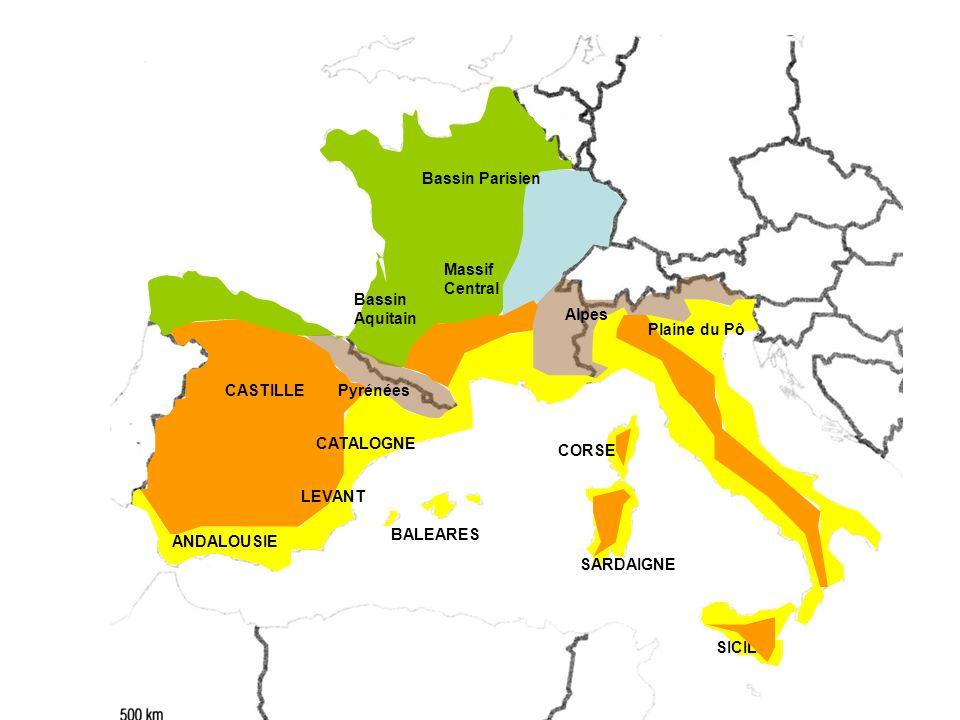Bassin Parisien Massif Central. Bassin Aquitain. Alpes. Plaine du Pô. CASTILLE. Pyrénées. CATALOGNE.