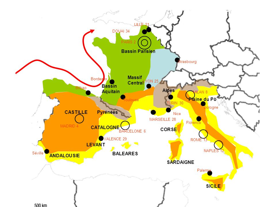 Bassin Parisien Massif Central Bassin Aquitain Alpes Plaine du Pô