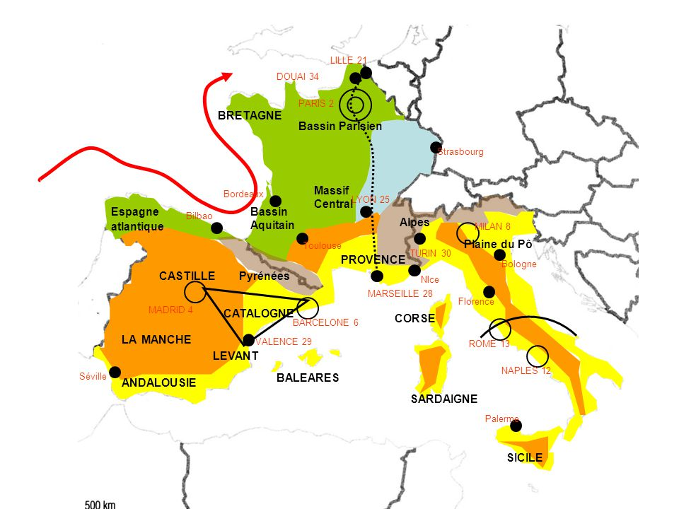 BRETAGNE Bassin Parisien Massif Central Espagne atlantique