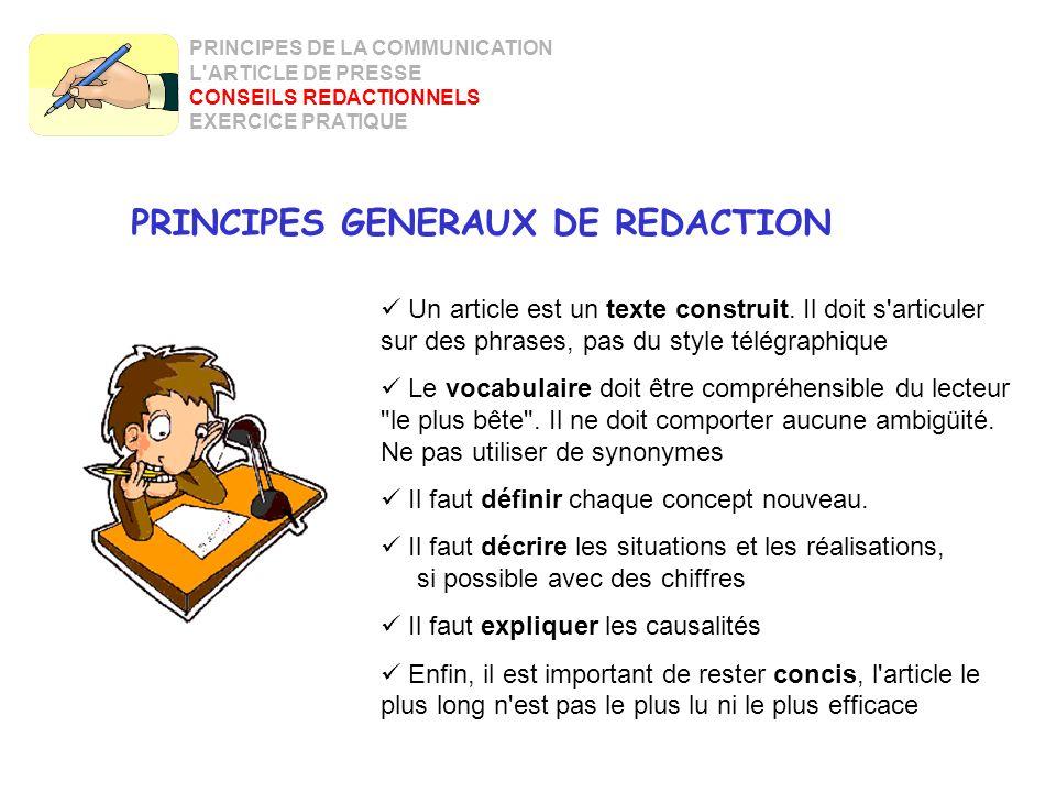 18 PRINCIPES GENERAUX DE REDACTION