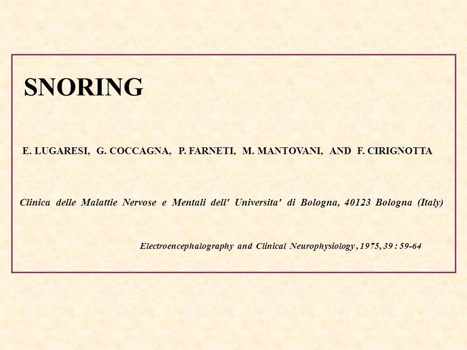 SNORINGE. LUGARESI, G. COCCAGNA, P. FARNETI, M. MANTOVANI, AND F. CIRIGNOTTA.