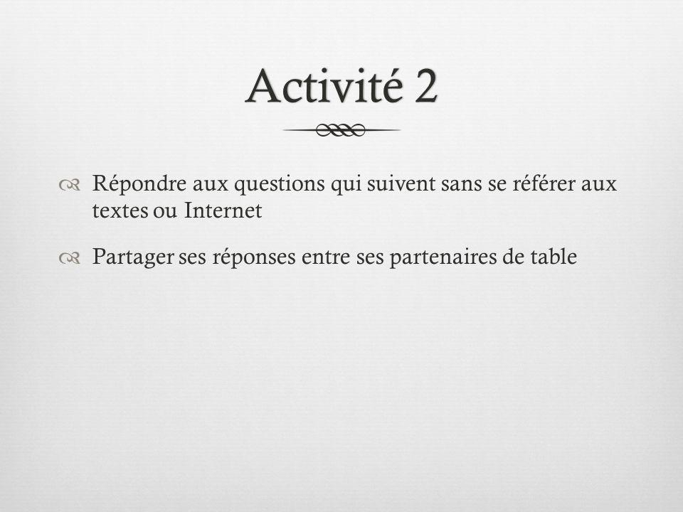 Activité 2 Répondre aux questions qui suivent sans se référer aux textes ou Internet.