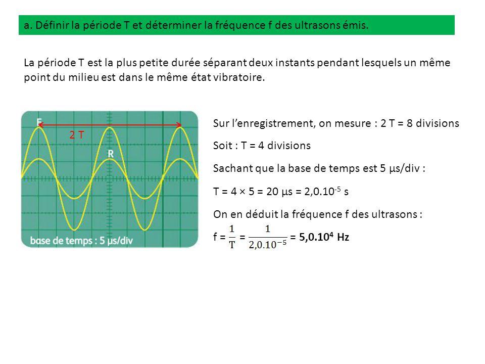 a. Définir la période T et déterminer la fréquence f des ultrasons émis.