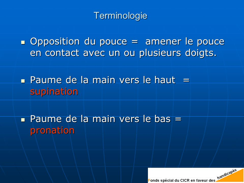 Terminologie Opposition du pouce = amener le pouce en contact avec un ou plusieurs doigts. Paume de la main vers le haut = supination.
