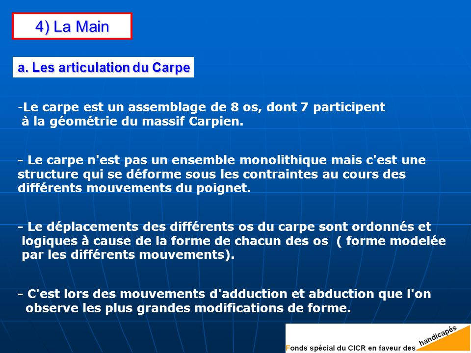 4) La Main a. Les articulation du Carpe