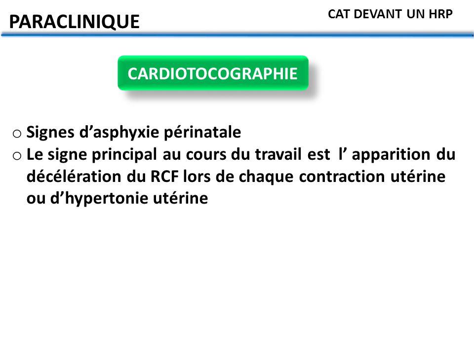 PARACLINIQUE CARDIOTOCOGRAPHIE Signes d'asphyxie périnatale