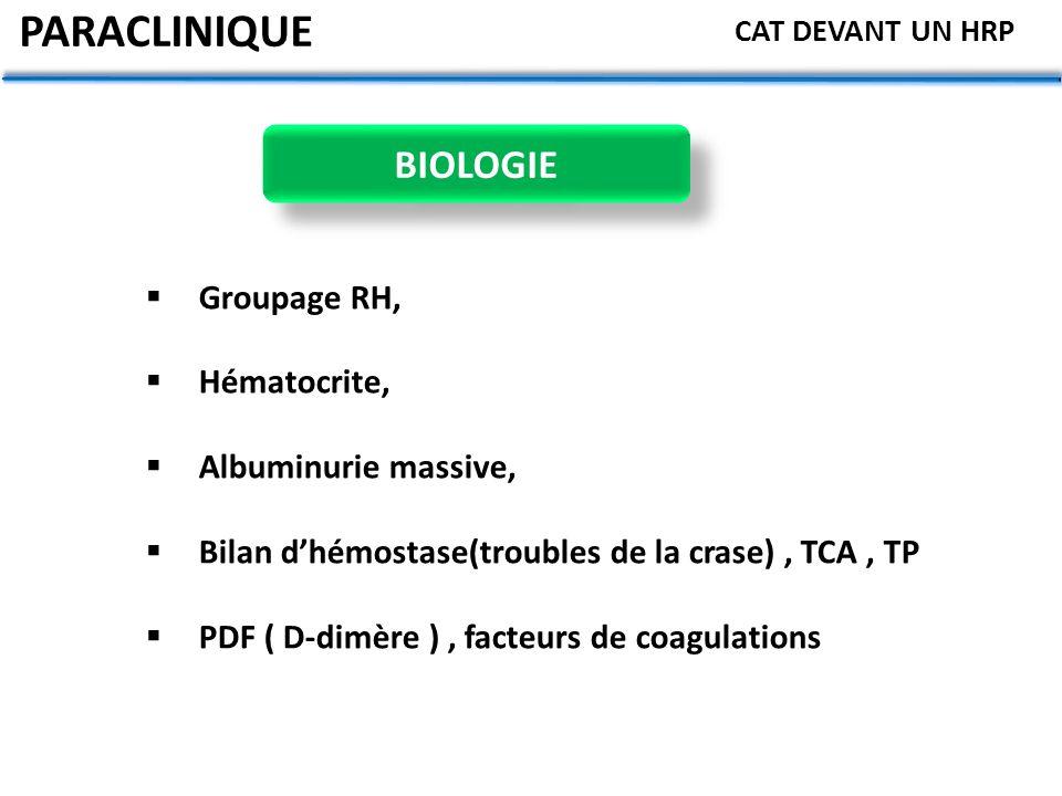 PARACLINIQUE BIOLOGIE Groupage RH, Hématocrite, Albuminurie massive,