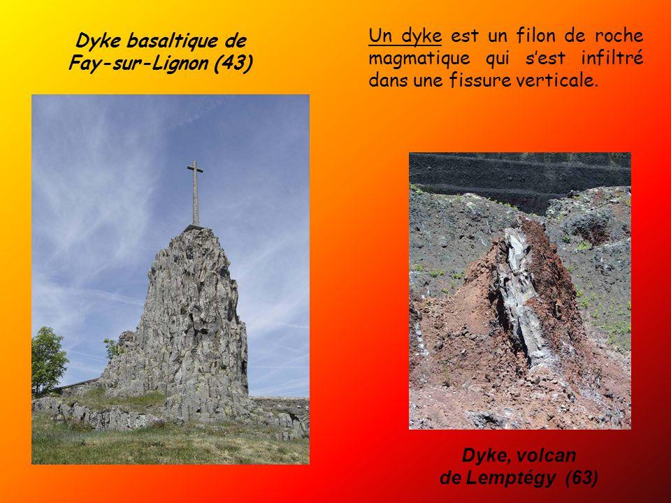 Un dyke est un filon de roche magmatique qui s'est infiltré dans une fissure verticale.