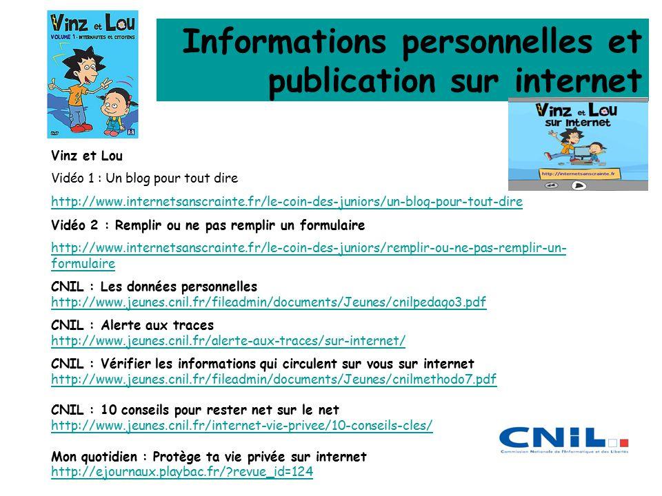 Informations personnelles et publication sur internet