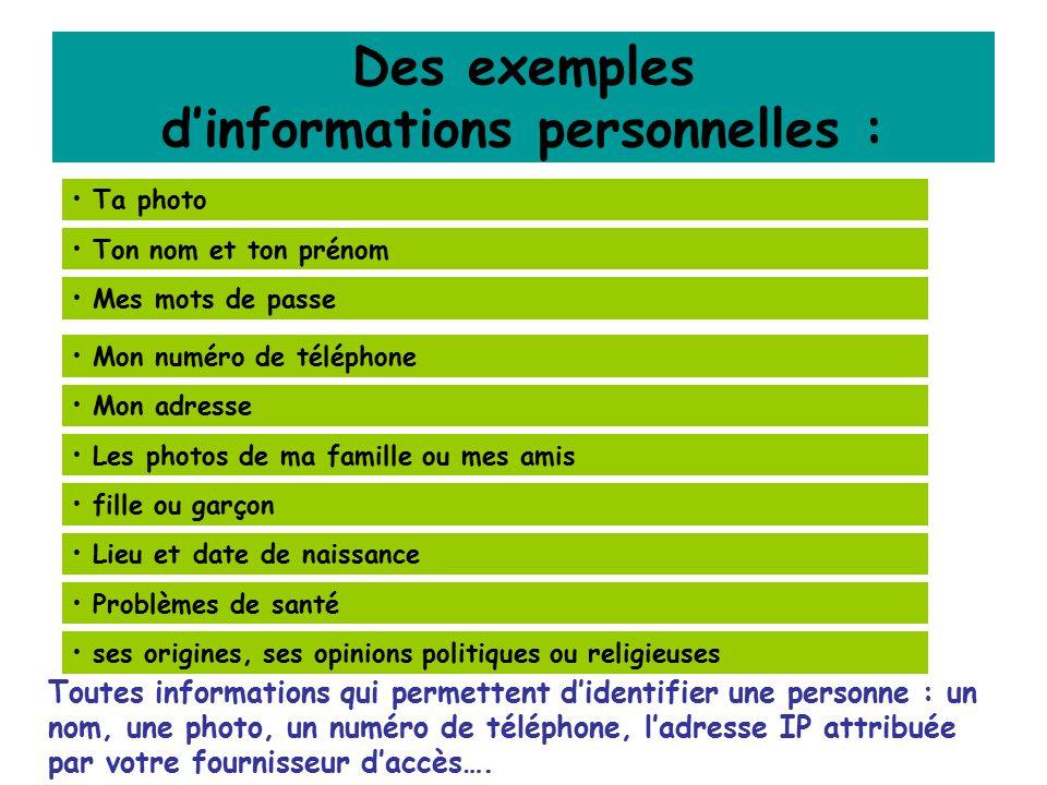 Des exemples d'informations personnelles :
