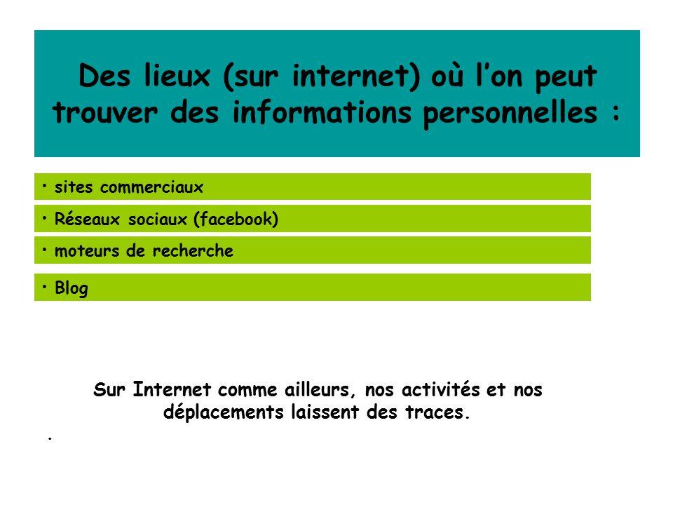 Des lieux (sur internet) où l'on peut trouver des informations personnelles :