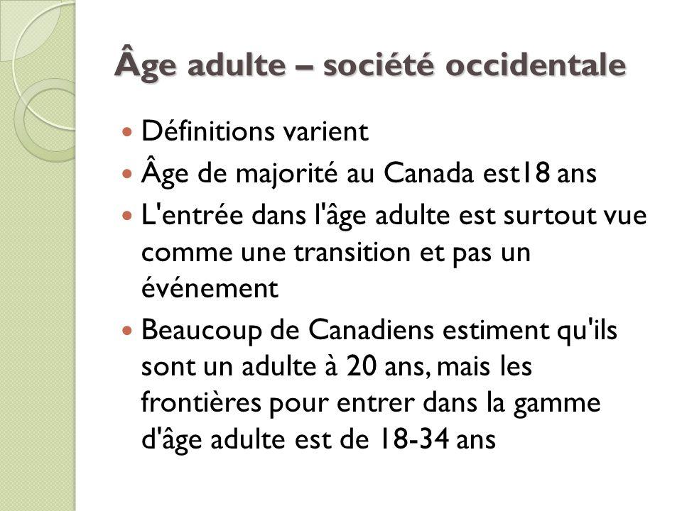 Âge adulte – société occidentale