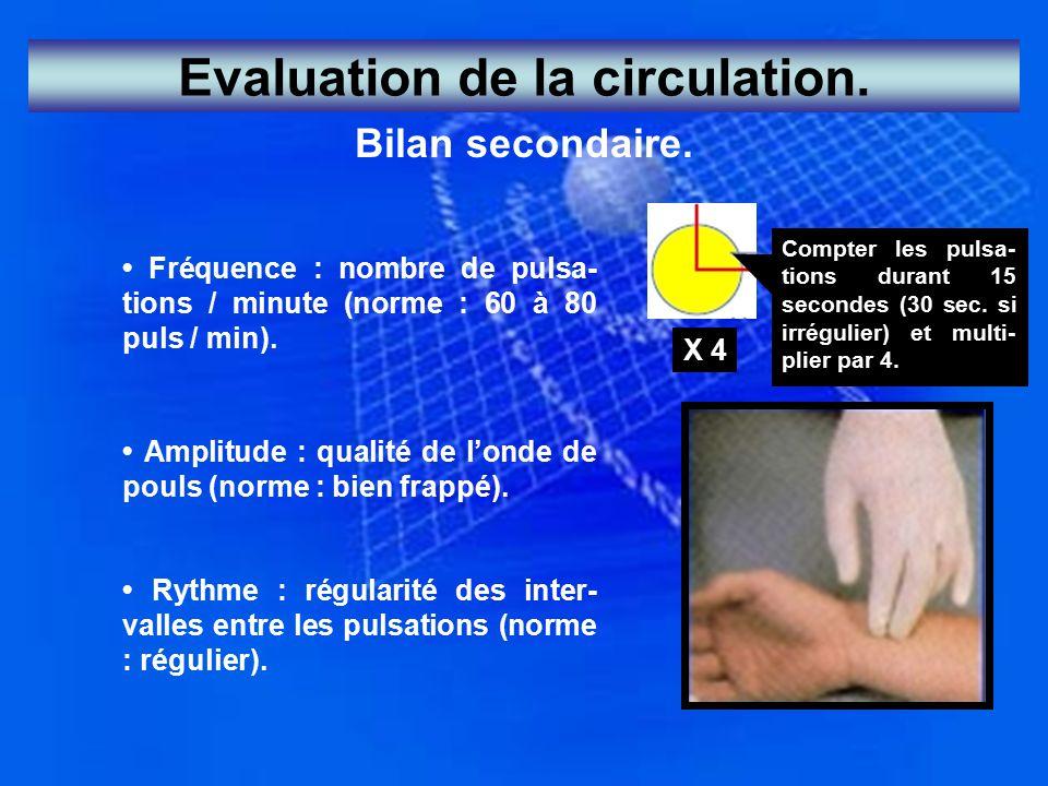 Evaluation de la circulation.