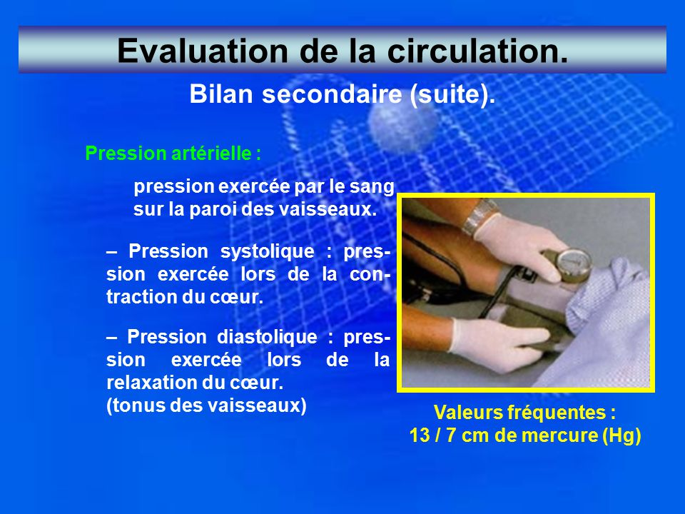 Evaluation de la circulation. Bilan secondaire (suite).