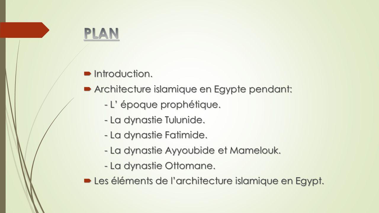 PLAN Introduction. Architecture islamique en Egypte pendant:
