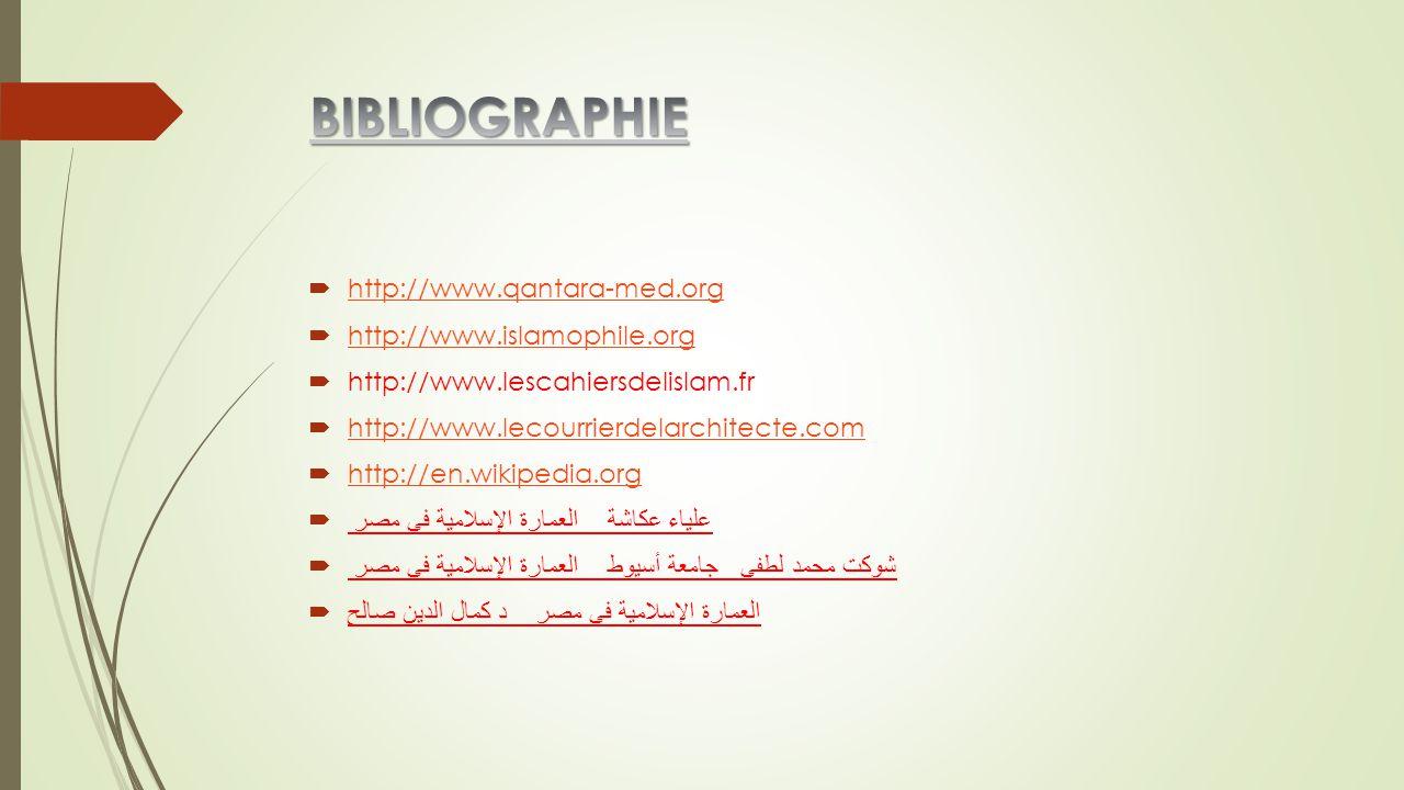 BIBLIOGRAPHIE http://www.qantara-med.org http://www.islamophile.org