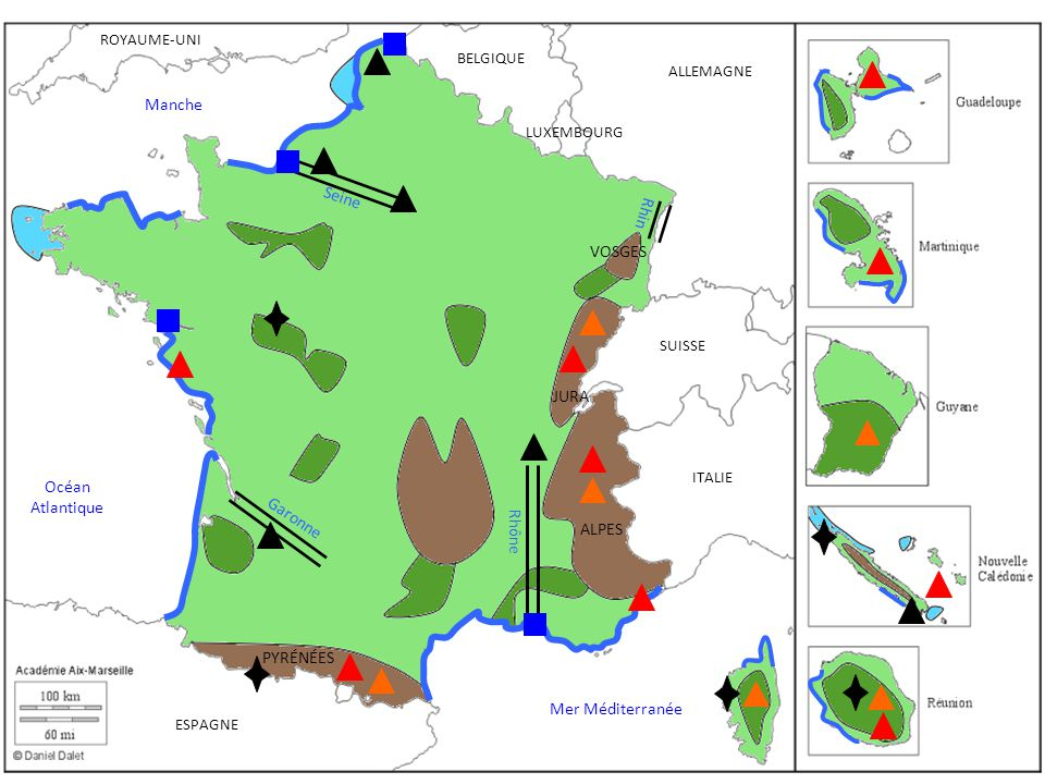 Manche Seine Rhin VOSGES JURA Océan Atlantique Garonne Rhône ALPES