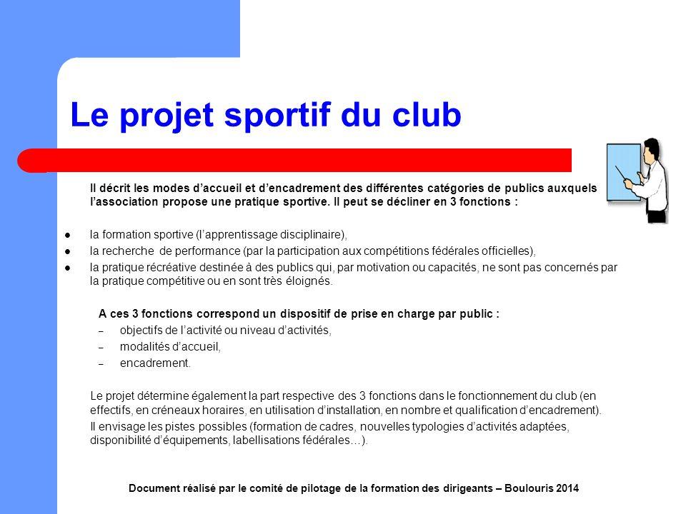 accompagner les clubs dans la formulation du projet