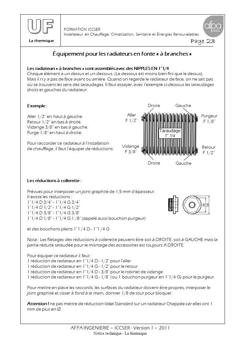 L'outil de montage de la robinetterie de radiateur