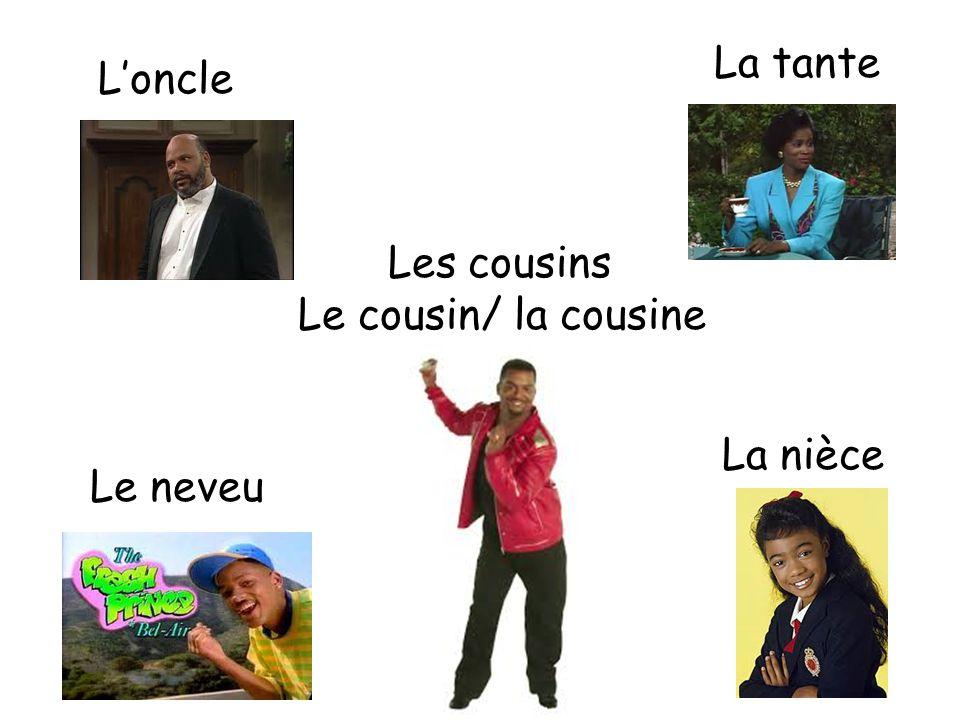 La tante L'oncle Les cousins Le cousin/ la cousine La nièce Le neveu