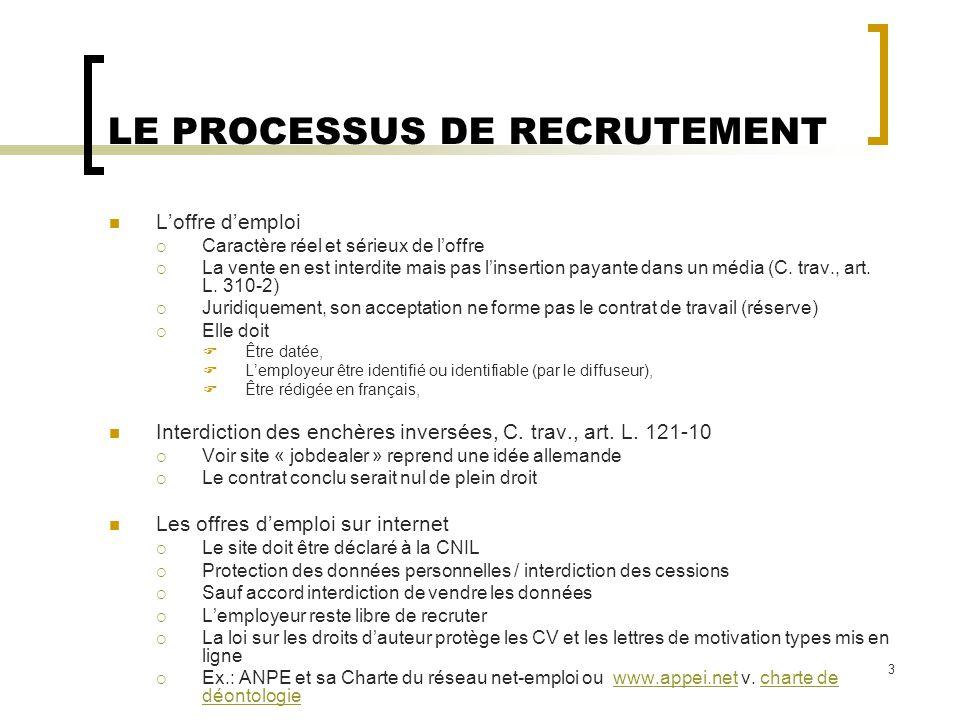 2   la conclusion du contrat de travail