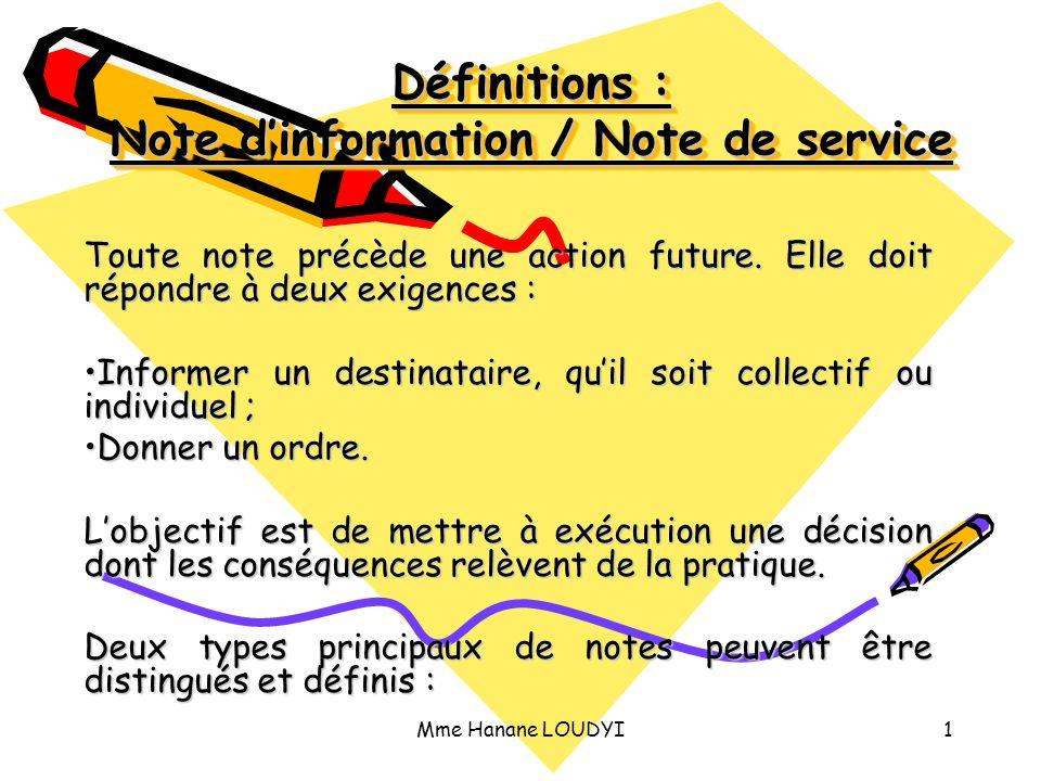 Définitions : Note d'information / Note de service
