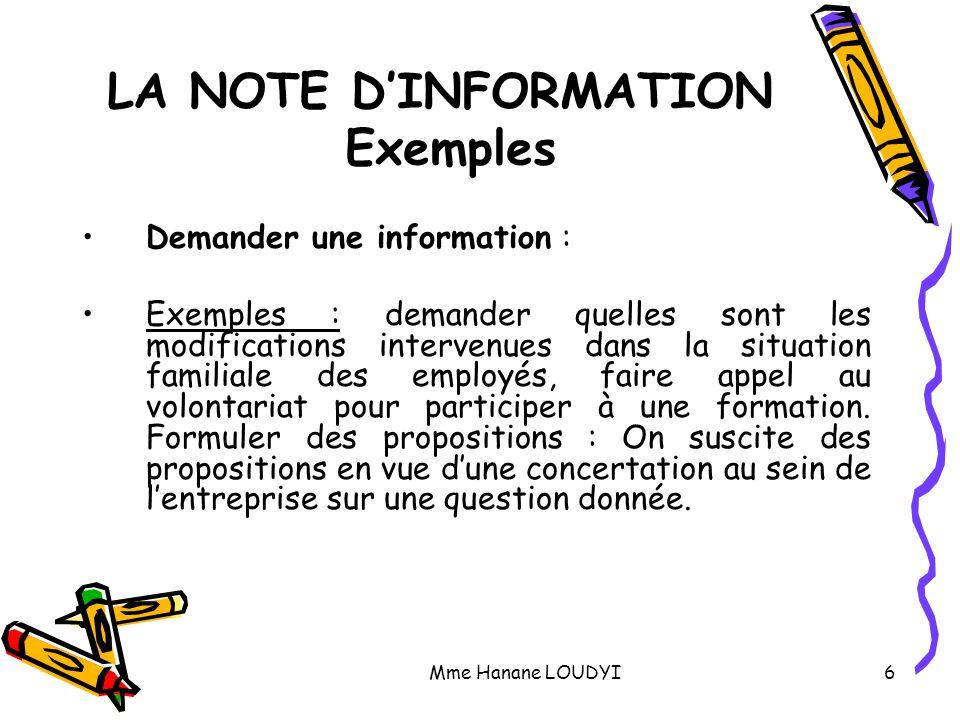 LA NOTE D'INFORMATION Exemples
