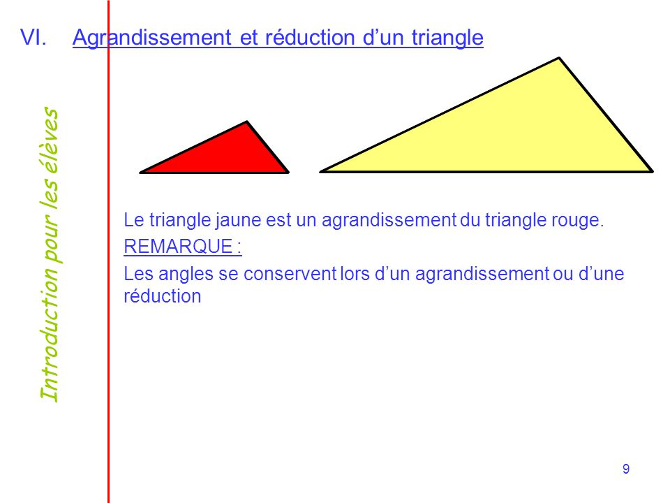 Agrandissement et réduction d'un triangle