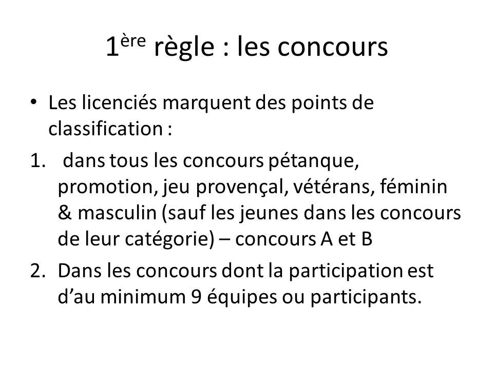 Classification pour 2015 selon la f d ration fran aise de for Regle de la petanque provencale