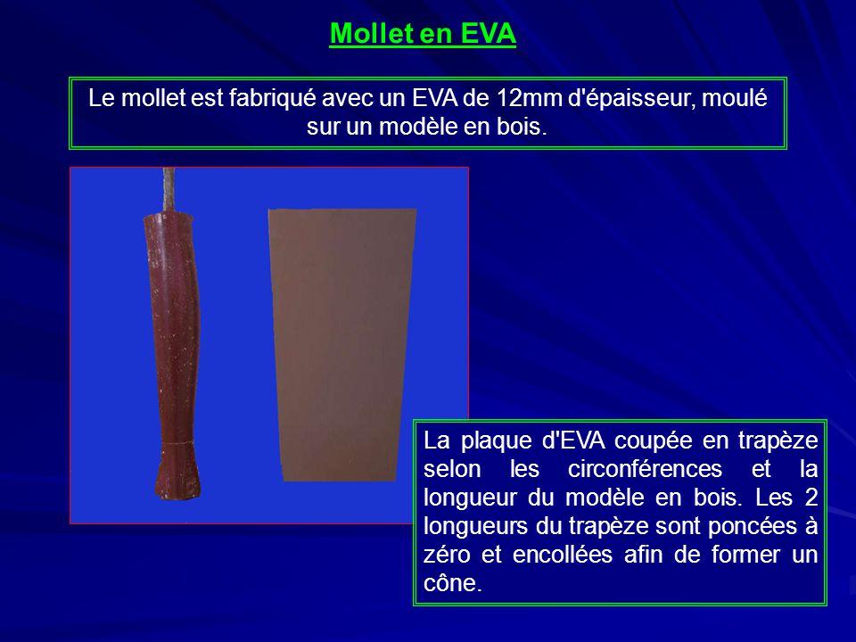 Mollet en EVA Le mollet est fabriqué avec un EVA de 12mm d épaisseur, moulé sur un modèle en bois.