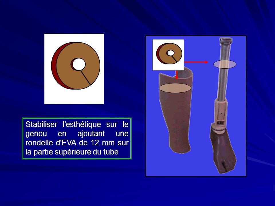 Stabiliser l esthétique sur le genou en ajoutant une rondelle d EVA de 12 mm sur la partie supérieure du tube