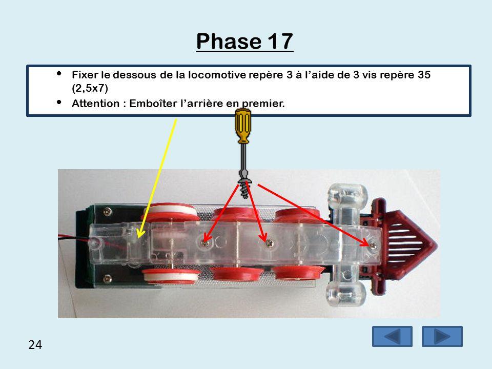 Phase 17 Fixer le dessous de la locomotive repère 3 à l'aide de 3 vis repère 35 (2,5x7) Attention : Emboîter l'arrière en premier.