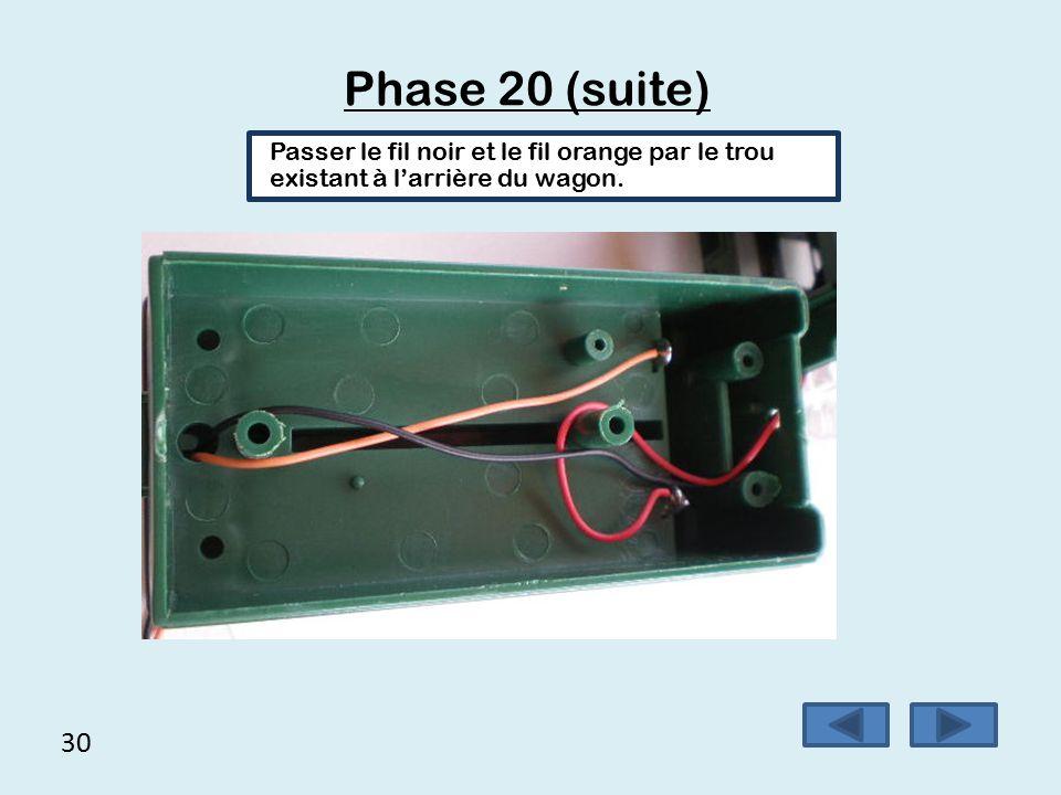 Phase 20 (suite) Passer le fil noir et le fil orange par le trou existant à l'arrière du wagon. 30