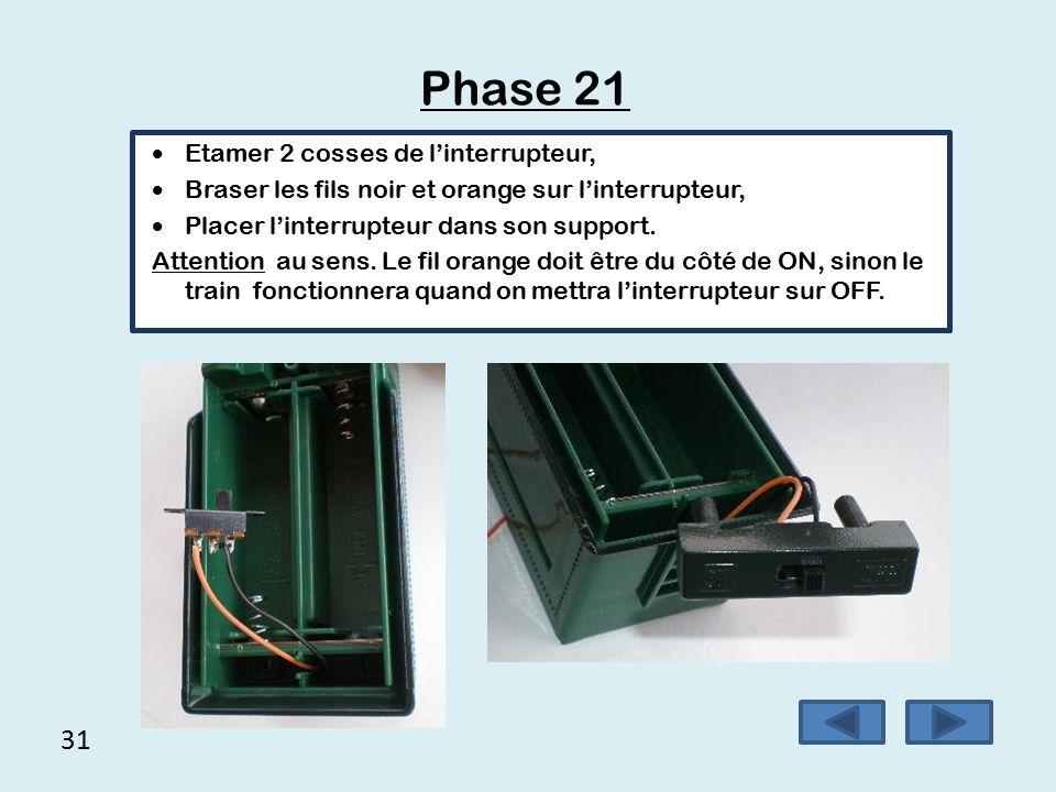 Phase 21 31 Etamer 2 cosses de l'interrupteur,