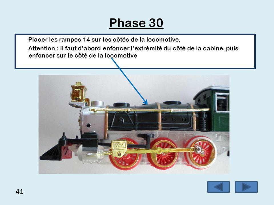 Phase 30 41 Placer les rampes 14 sur les côtés de la locomotive,