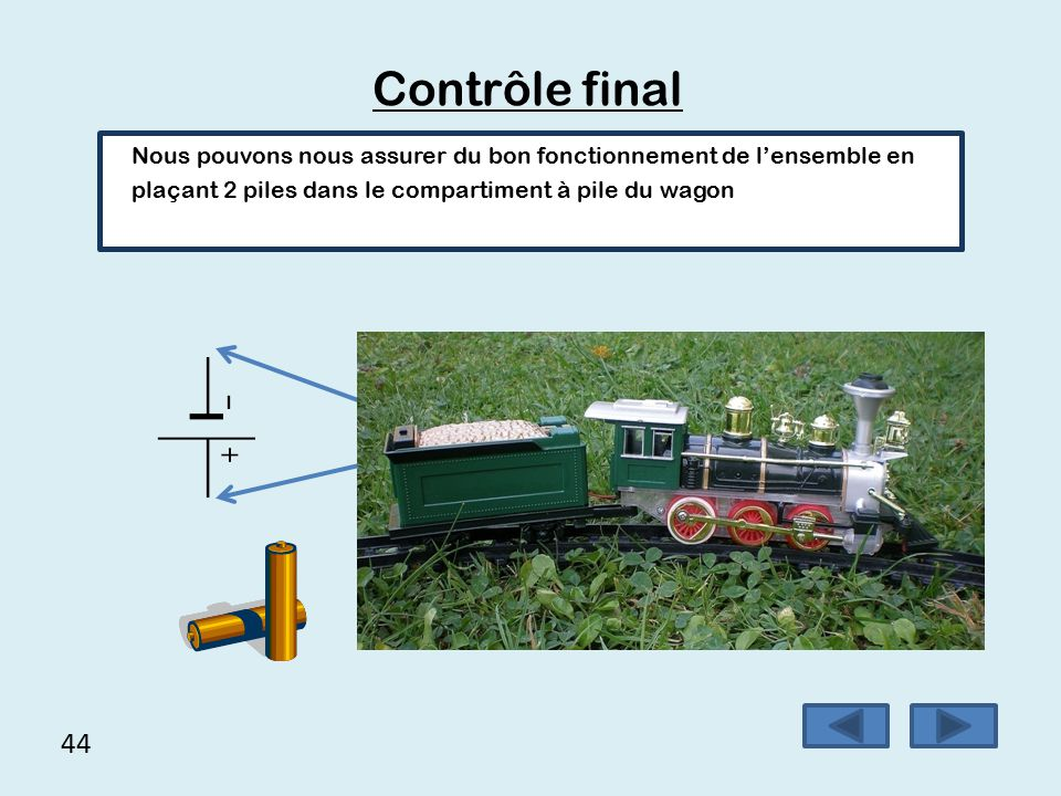 Contrôle final Nous pouvons nous assurer du bon fonctionnement de l'ensemble en plaçant 2 piles dans le compartiment à pile du wagon.