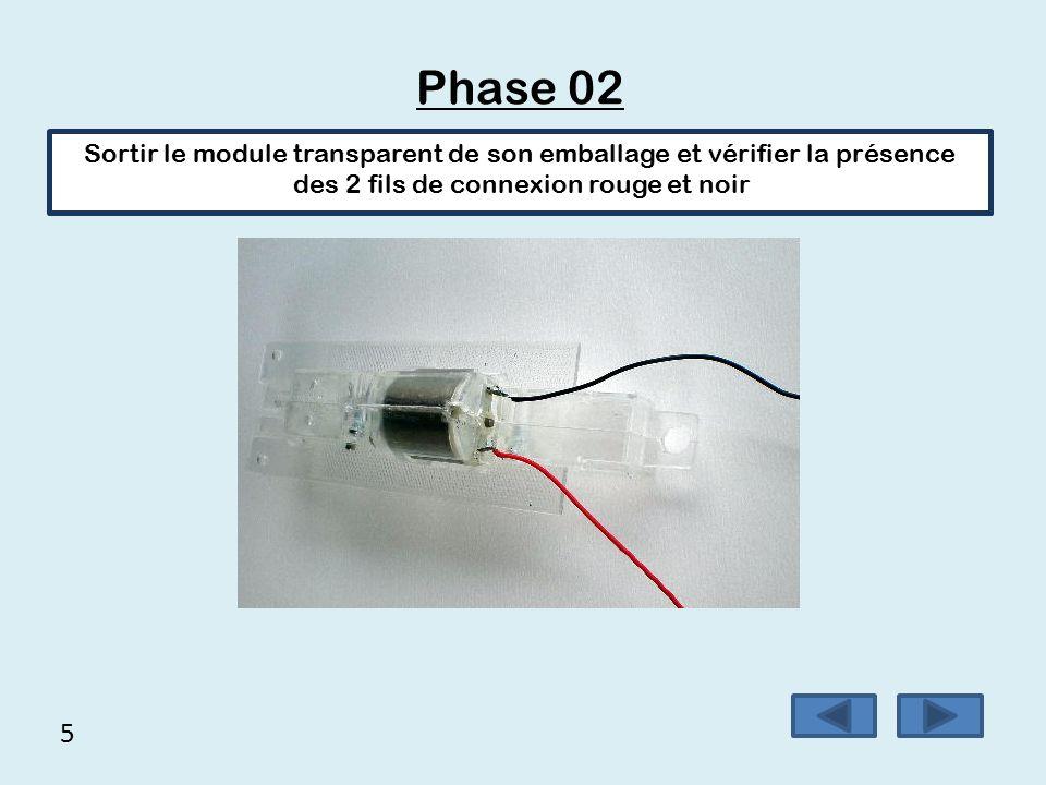 Phase 02 Sortir le module transparent de son emballage et vérifier la présence des 2 fils de connexion rouge et noir.