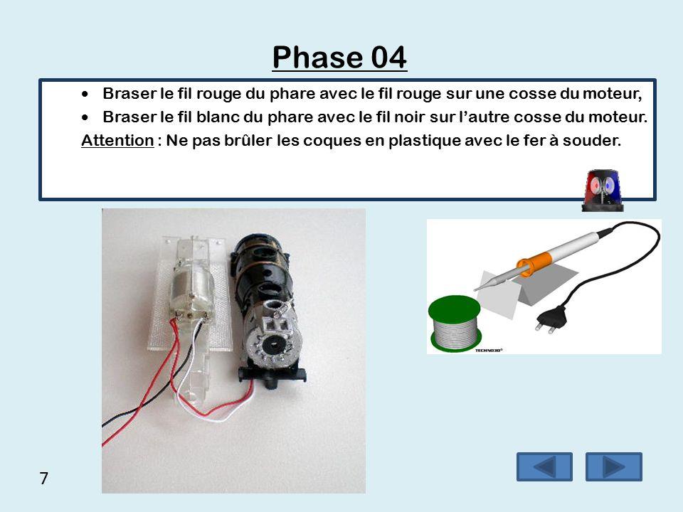Phase 04 Braser le fil rouge du phare avec le fil rouge sur une cosse du moteur,