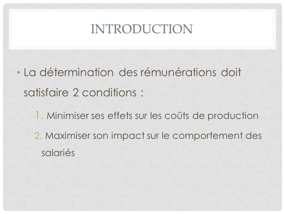 INTRODUCTION La détermination des rémunérations doit satisfaire 2 conditions : Minimiser ses effets sur les coûts de production.
