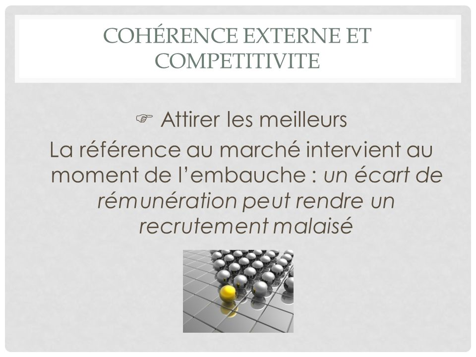 Cohérence externe et COMPETITIVITE