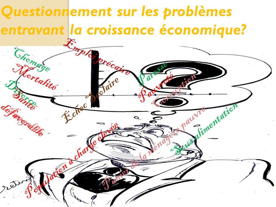 Questionnement sur les problèmes entravant la croissance économique