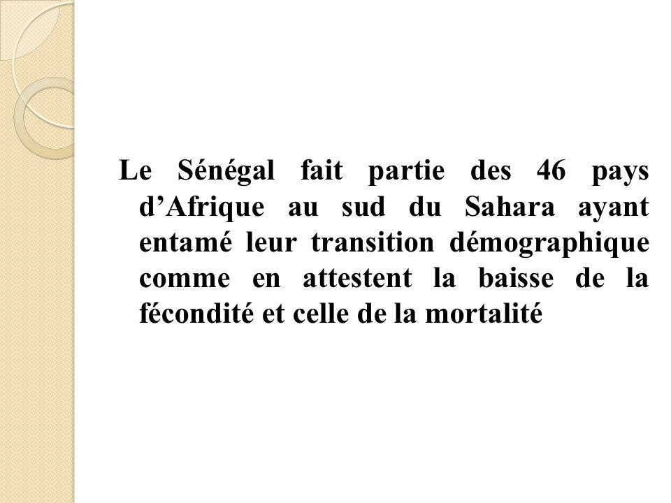 Le Sénégal fait partie des 46 pays d'Afrique au sud du Sahara ayant entamé leur transition démographique comme en attestent la baisse de la fécondité et celle de la mortalité