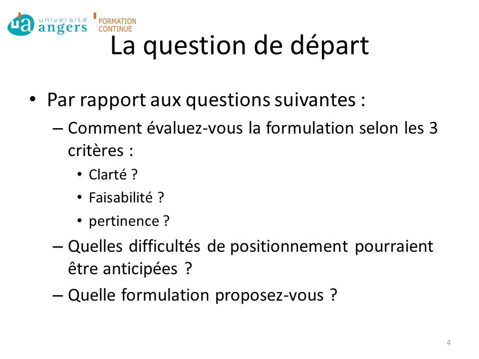 La question de départ Par rapport aux questions suivantes :