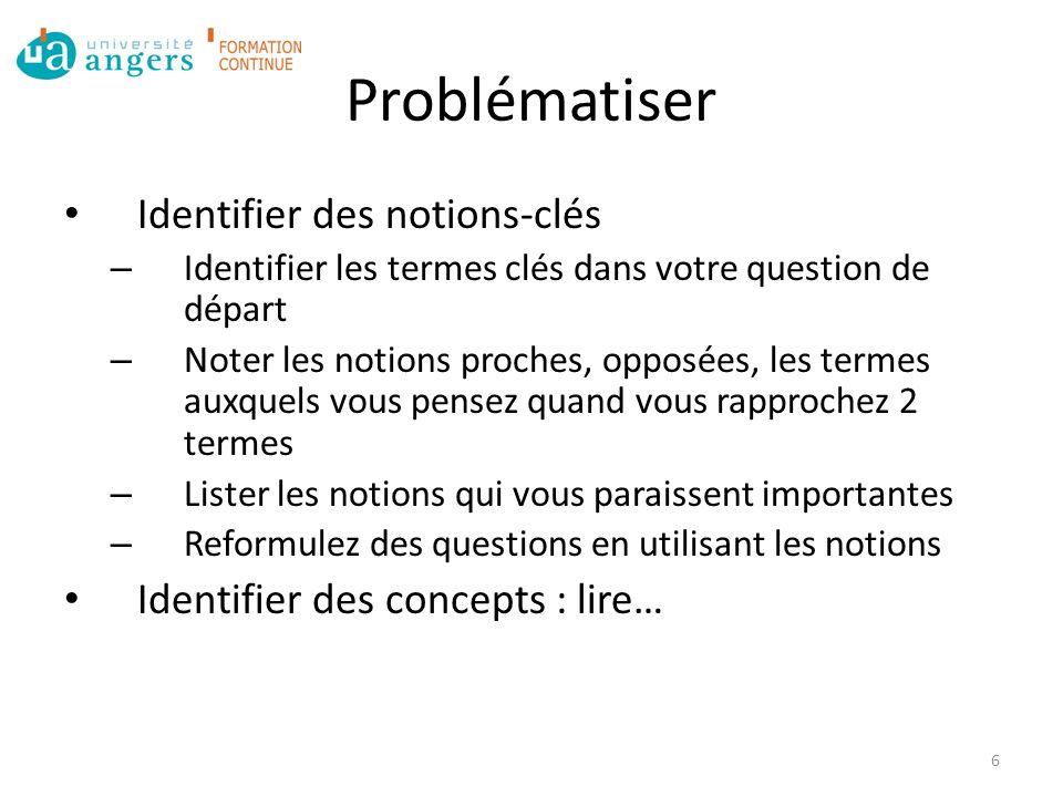 Problématiser Identifier des notions-clés