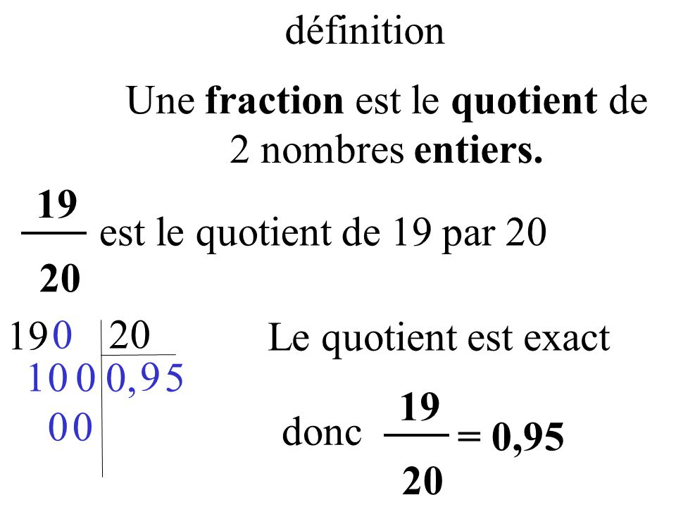 exercice quotient et fraction 6eme